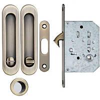 Ручки для раздвижных дверей с замком WC, комплект Siba Бронза