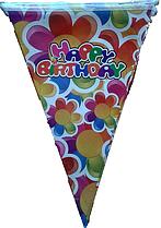 Гирлянда-флажки (вымпел) Happy Birthday цветы 2,2м