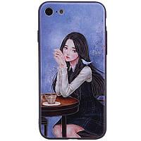 """Чехол  с тиснением для Apple iPhone 7 / 8 """"Девочка в кафе"""""""
