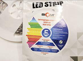 Светодиодная лента BIOM Professional 5050-60 RGB, негерметичная, фото 2