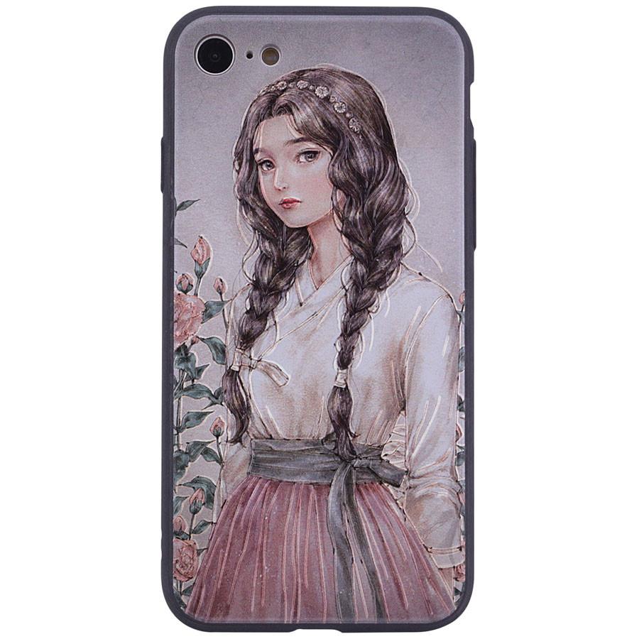 """Чехол  с принтом для Apple iPhone 7 / 8 """"Девочка с косами"""""""