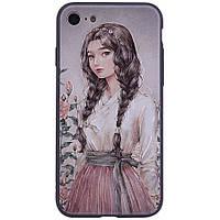 """Чехол  с принтом для Apple iPhone 7 / 8 """"Девочка с косами"""", фото 1"""