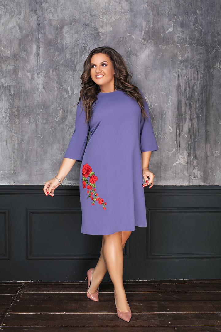 37c15439027 Платье свободного кроя с вышивкой батал - Интернет-магазин