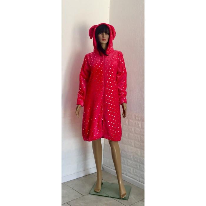 Красный махровый халат с принтом Звезды  42-50р