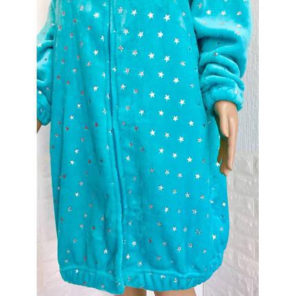 Красный махровый халат с принтом Звезды  42-50р, фото 2