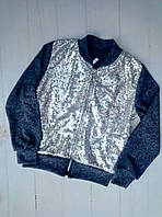Кофта на девочку, ангора, пайетка, размер 128-152, цвет джинсовый