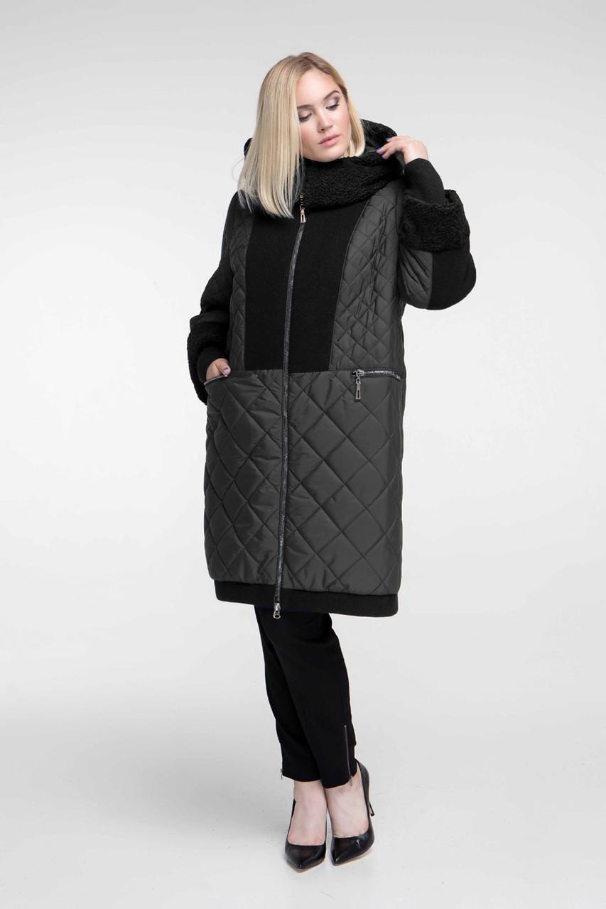 Пальто женское осень-зима теплое длинное с каракулем размеры большие от 54 до 68