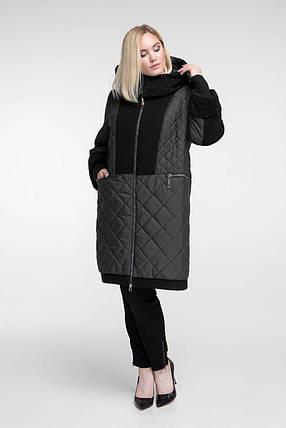 Пальто женское осень-зима теплое длинное с каракулем размеры большие от 54 до 68, фото 2