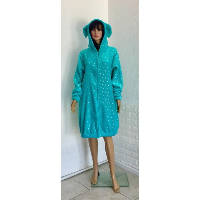 Молодежный махровый халат с принтом Звезды голубой 42-50р