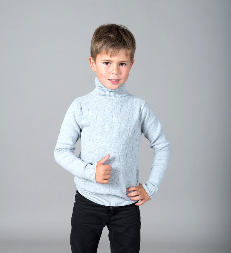 Свитер Many&Many для мальчика, светло-серый, Орнамент.