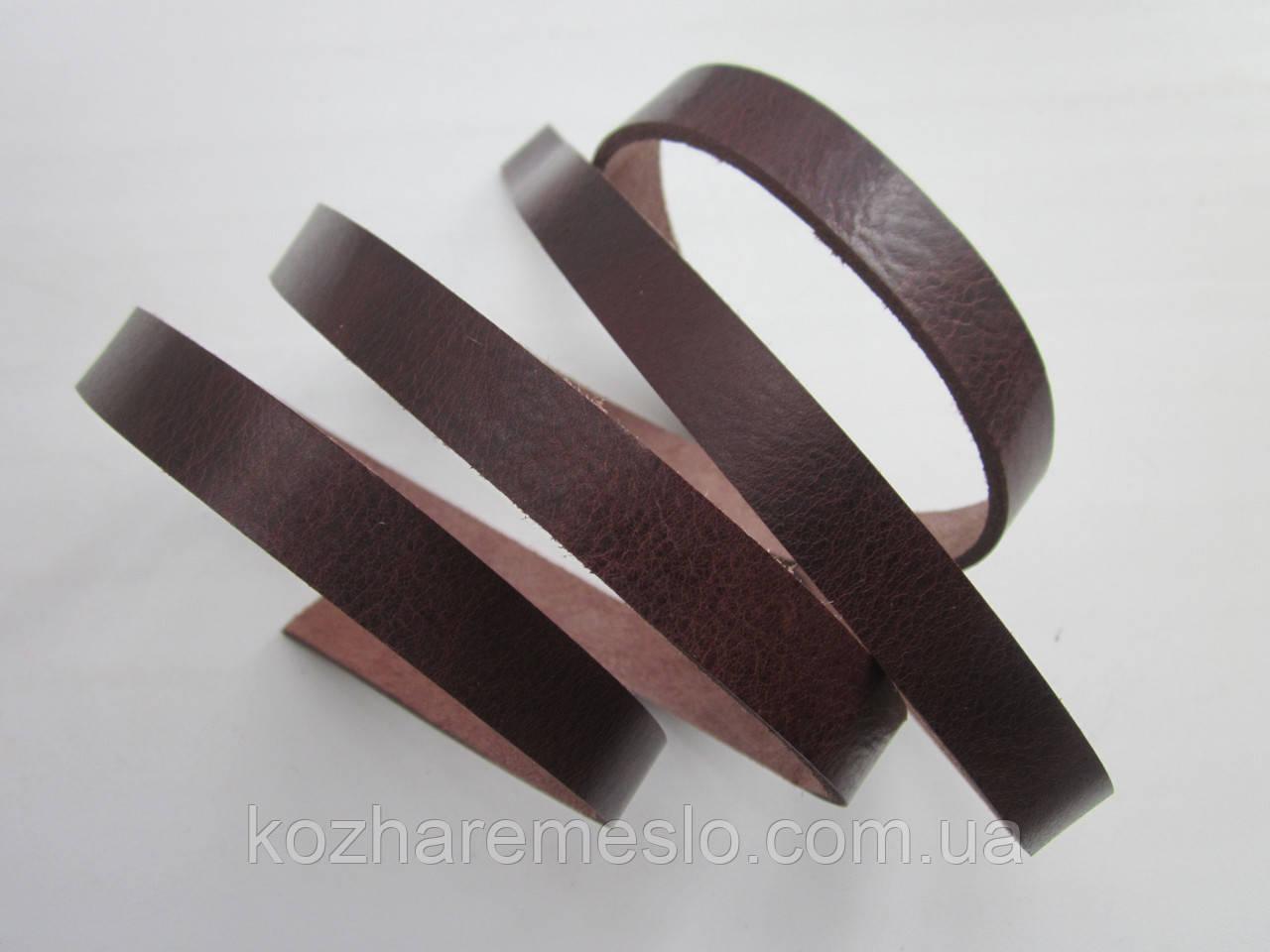 Ременная полоса из кожи растительного дубления 10 мм, толщина 2.8 - 3,0 мм (ИТАЛИЯ) АНТИК - КАШТАН