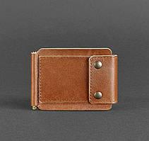 Зажим, портмоне для денег натуральная кожа коньяк (ручная работа)