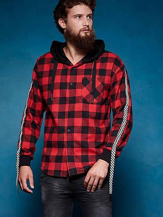 Оригинал Рубашка Мужская Glo-Story SS18 MCS-7460 Красная с Капюшоном, фото 2
