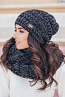"""Набор шапка и снуд """"Сьюзи"""",черный+белый меланж, фото 1"""