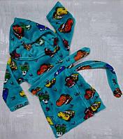 Махровый халат для мальчика с капюшоном и принтом Тачки  26-34 р