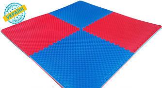 Мат татами Eva-Line Extra Quality синий/красный 100*100*2.6 см Плетёнка 100 кг/м3 1 сорт