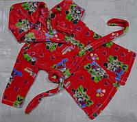 Халат для девочки из двухсторонней махры с капюшоном 26-34 р