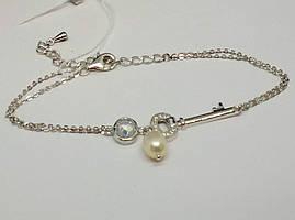 Срібний браслет з фіанітами та перлами (Якірний). Артикул Б2ФЖ/486
