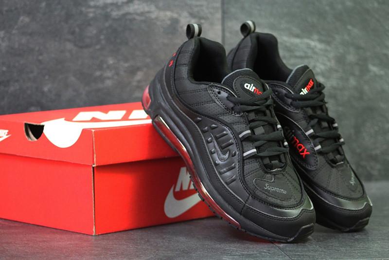 Найк эйр макс 98 суприм кроссовки черные красные кожаные (реплика) Nike Air Max 98 x Supreme Black Red