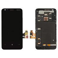 Дисплей с тачскрином Nokia 620 Lumia RM-846 черный в рамке (HQ)