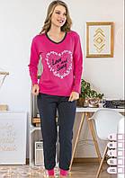 Молодежные байковые пижамы на зиму с манжетом, фото 1