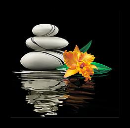 Картина на стекле Цветок и Камни на Воде