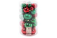 Набор елочных шаров красно-зеленый, 3см, 4см, 5см, 6см (40 шт)