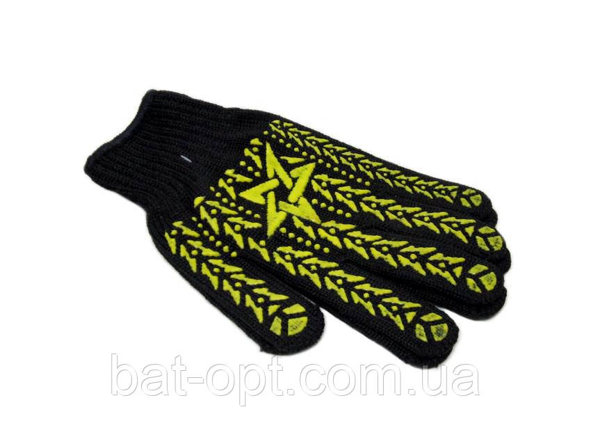 Перчатки рабочие Звезда черные Х/Б с ПВХ точкой (12пар)