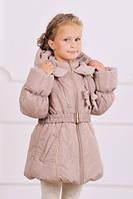 Модный карапуз ТМ Куртка-пальто зимняя для девочки (бежевый)