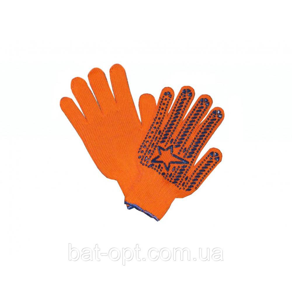 Перчатки рабочие Звезда оранжевые Х/Б с ПВХ точкой (12пар)