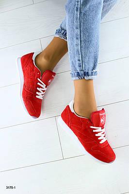 Женские кроссовки в стиле Reebok Classic натуральная замша красные