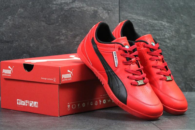 Кроссовки пума кожаные красные черные повседневные (реплика) Puma BMW Motorsport Red Black