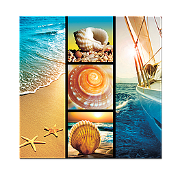 Картина на стекле Коллаж на пляжную тематику