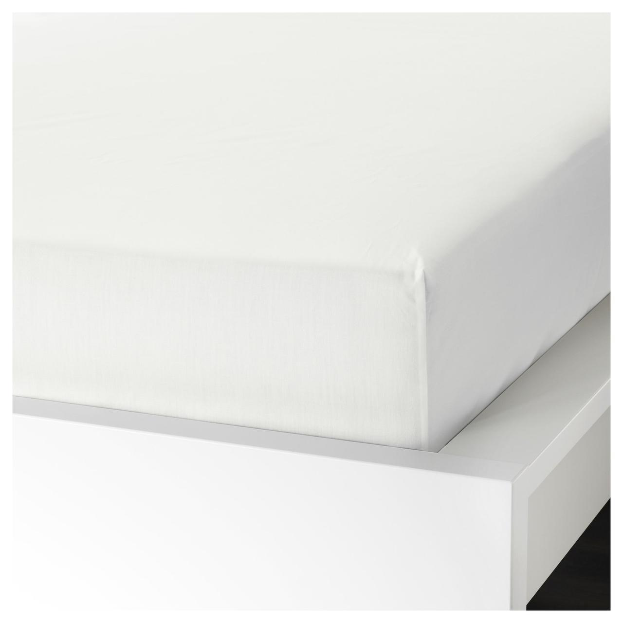 Простыня на резинке IKEA ULLVIDE 160х200 см белая 203.427.24
