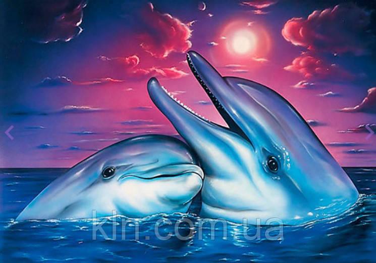 Алмазна вишивка Пара дельфінів 30 х 40 см (арт. FS786)