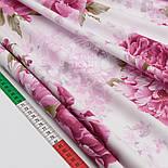 """Сатин ткань """"Крупные розовые пионы"""" №1509с, фото 3"""