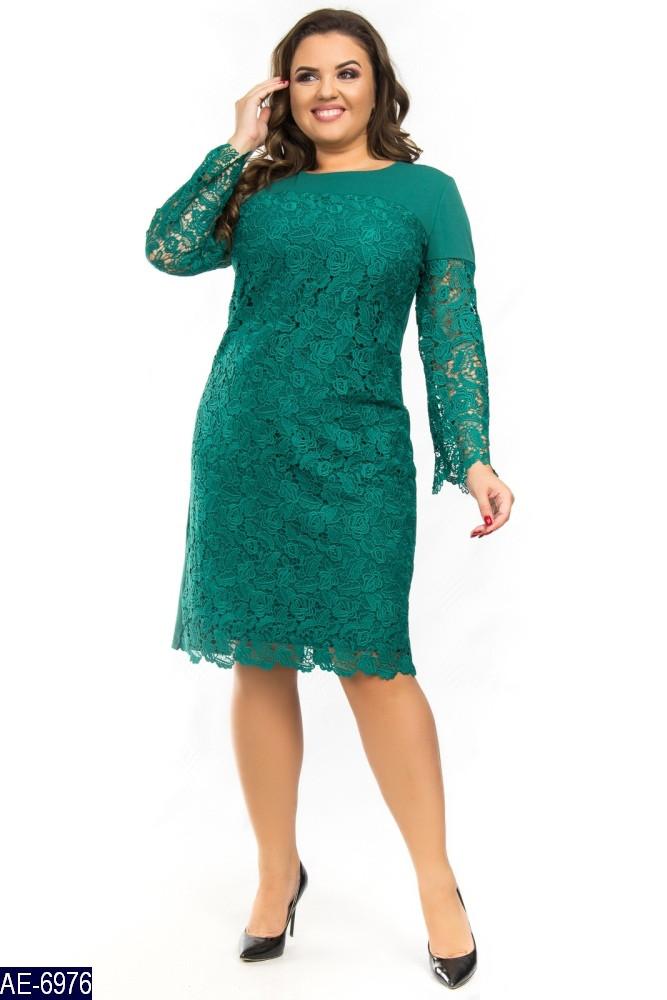 Праздничное женское платье креп дайвинг++набивное кружево, батал размер  50-56