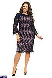 Праздничное женское платье креп дайвинг++набивное кружево, батал размер  50-56, фото 4