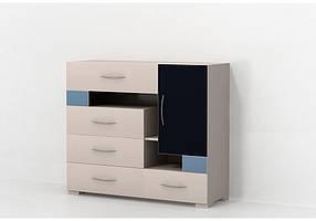 Комод с распашной дверью Некст Ваниль/Синий+темно-синий (Luxe Studio TM)