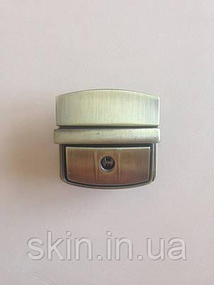 Замок клавишный для сумки, размер - 45мм. * 40мм., цвет - антик, артикул СК 5173, фото 2