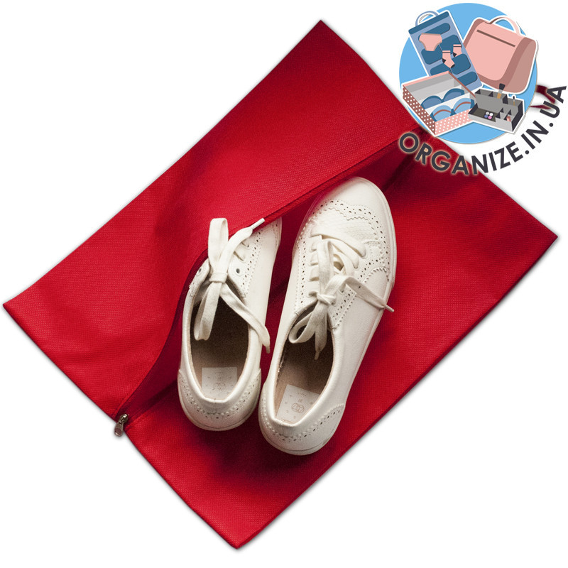 Объемная сумка-пыльник для обуви на молнии (красный)