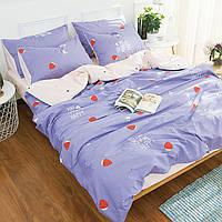 Комплект постельного белья Bella Villa сатин Евро фиолетовый с клубничками
