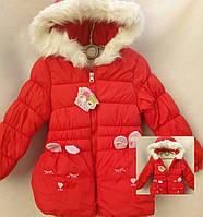 Красивая красная демисезонная куртка на девочку р. 3-5 лет