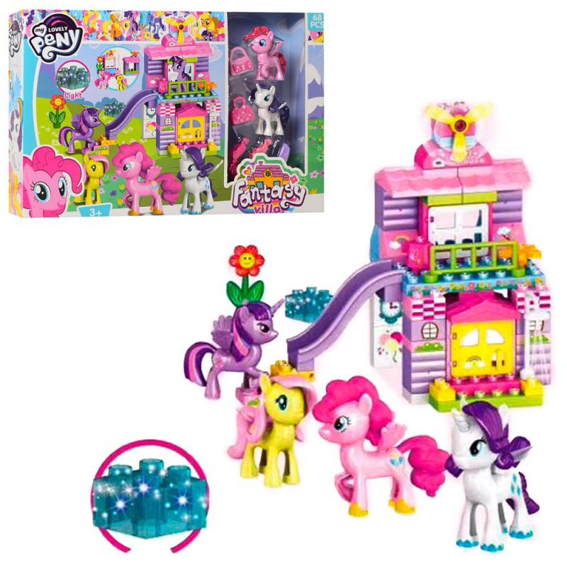 Игровой набор - Конструктор Замок Домик Литл Пони (my Litlle Pony) свет, фигурки пони, мебель, 8722