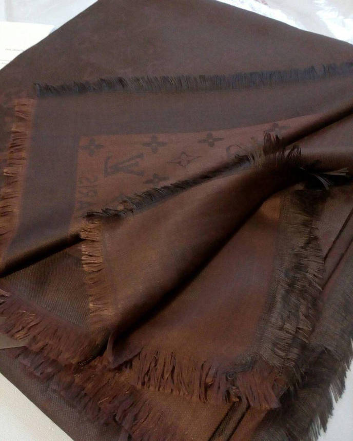 Платок Louis Vuitton черный шоколад  комби, фото 2