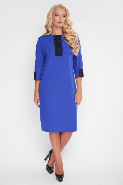 Платье женское с кружевом Аманда василькового цвета (52-58)