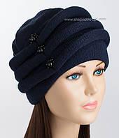 Вязаная женская шапка Октава темно-синего цвета