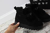 Женские черные ботинки Moschno натуральный замш с мехом кролика