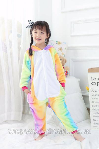 Детская пижама кигуруми Единорог радужный 130 см  продажа e3101a71ddbad