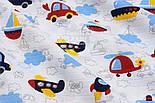 """Ткань муслин """"Машинки, самолёты и кораблики с облаками"""" на белом, ширина 160см, фото 2"""